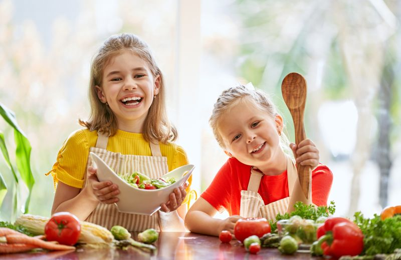 children cooking healthy foods